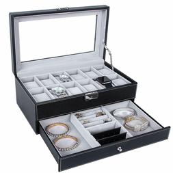 12 Slots Watch Box Mens Watch Organizer Lockable Jewelry Dis
