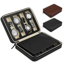 2/4/8 Slots Leather Watch Storage Case Portable Travel Wrist
