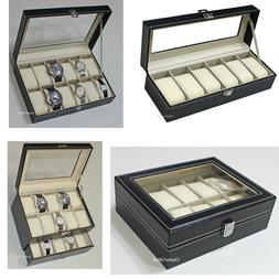 6, 10 12 20 Slots Leather Watch Box Display Glass Top Jewelr