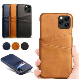 Card Slot Holder Leather Case Back Cover For iPhone 11 Pro X