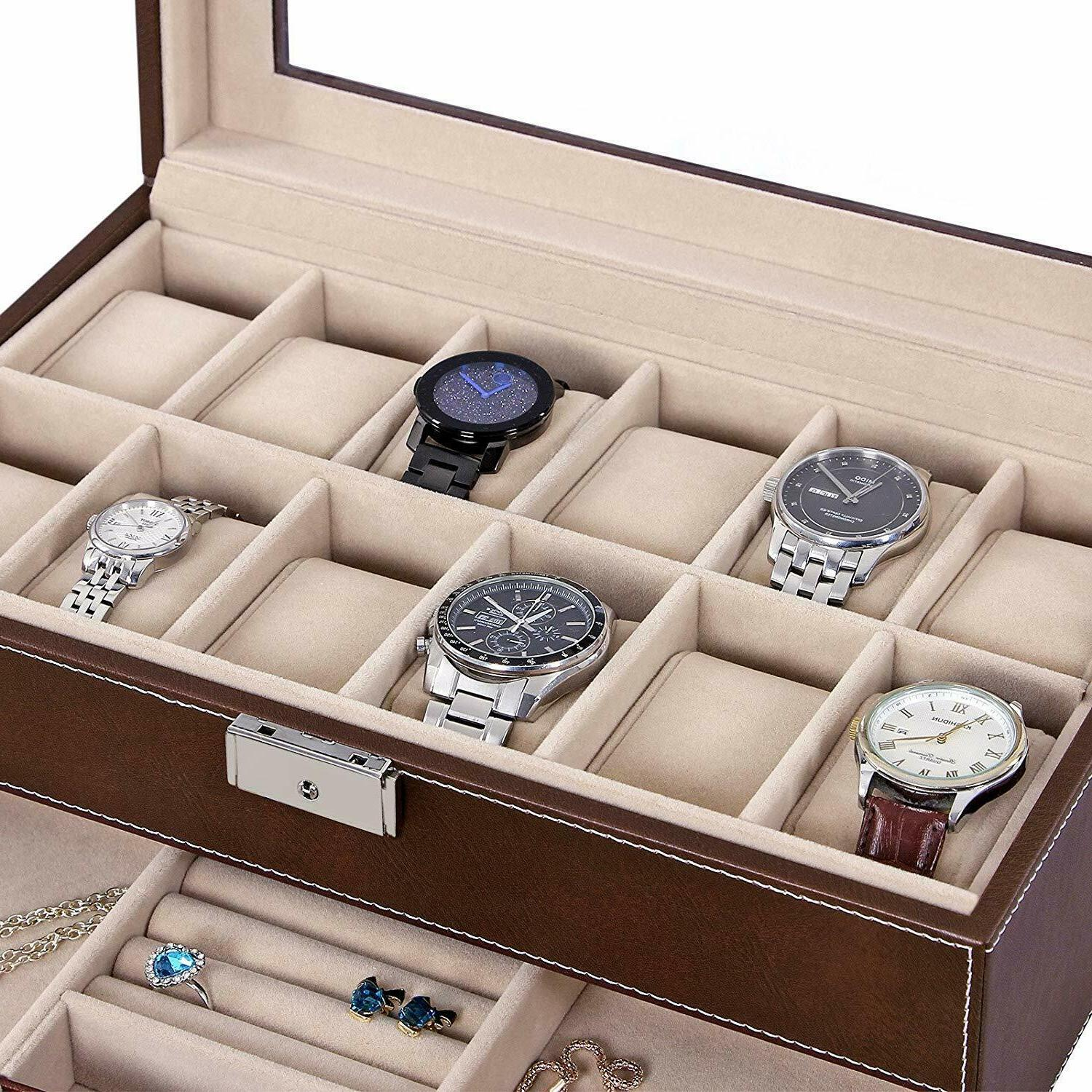 12 Slots Watch Mens Watch Organizer Jewelry Display Case Real