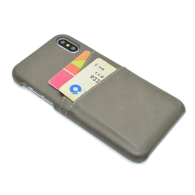 For iPhone Max 7 8 Leather Card Slot Back Cover