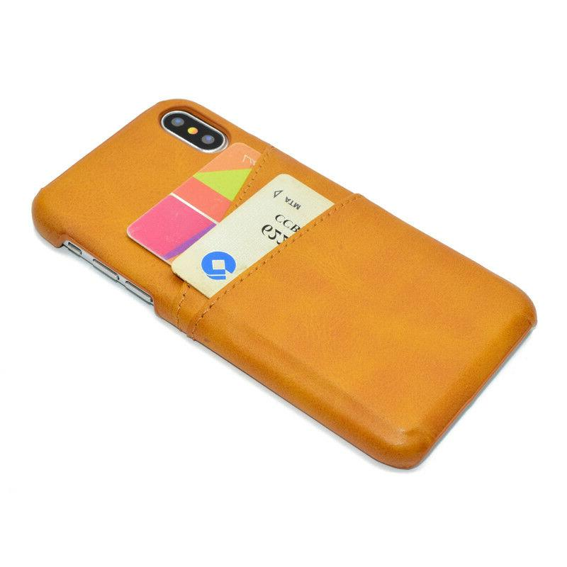 For iPhone Max XR 7 Leather Card Back