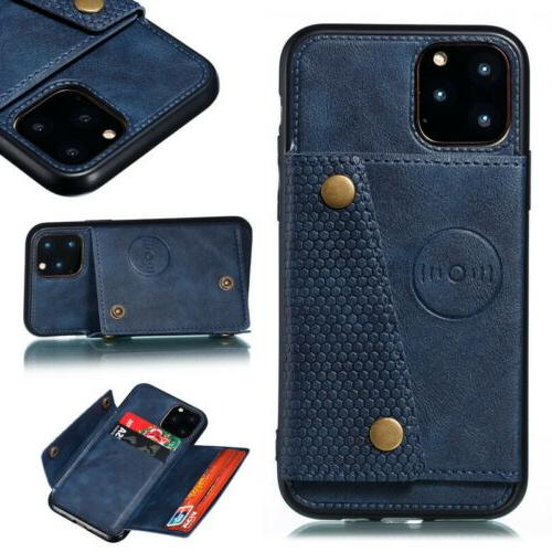 For 11 Pro Max Max XR 8 Back Card Slot Leather