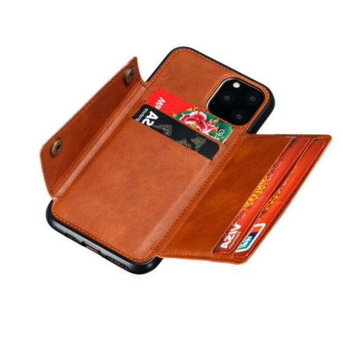 For iPhone 12 Pro XS XR X Back Card Leather Case