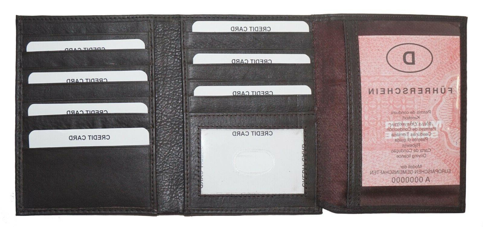 Mens Brown Leather Trifold Wallet 2 ID-20 Brown