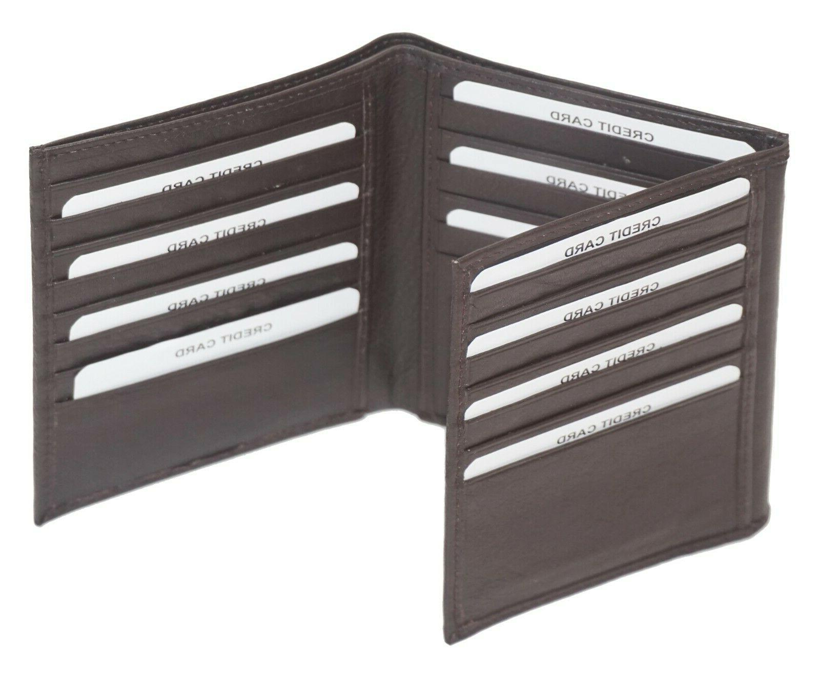 Mens Cowhide Leather Trifold Mens 2 Slots Brown