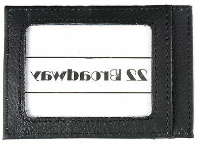 Mens Leather Money Wallet 4 Card Case Slots