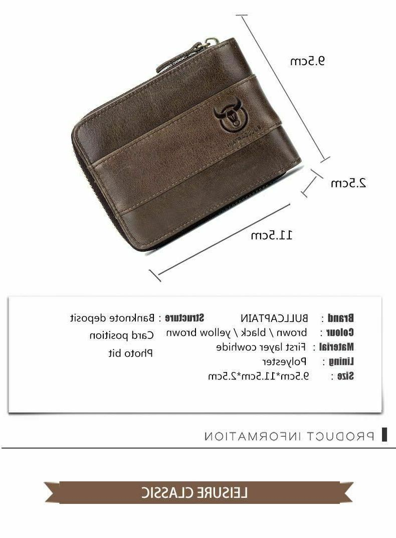 RFID BULLCAPTAIN Mens Leather Zipper Around Slots Coin Wallet US