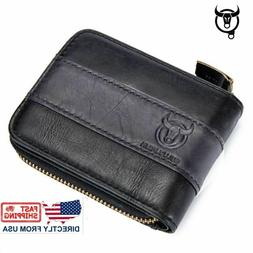 RFID BULLCAPTAIN Mens Real Leather Zipper Around Card Slots